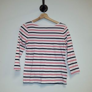 Talbots Mid Sleeve Stripes Pink & Blue Sma…